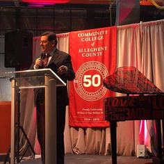 #Pittsburgh Mayor @billpeduto delivers a proclamation in honor of CCAC's 50th anniversary celebration. #CCAC50kickoff