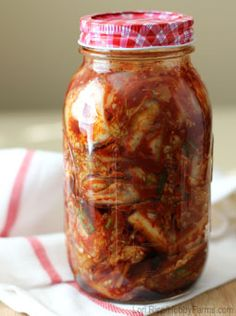 Korean kimchi is a fermented salad or condiment made with cabbage and a variety of Asian seasonings.