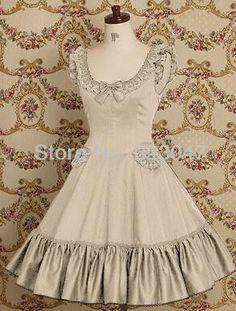 Custom Made Sleeveless Beige Cotton Classic Lolita Dress Costume Free Shipping