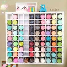 The 36 Ink Pad organizer organizer holds up to 36 of most of the popular ink pads including Stampin Up, Close To My Heart, Versamark and more! This organizer Spray Paint Storage, Craft Paint Storage, Paint Organization, Arts And Crafts Storage, Office Organization, Organizing, Ikea Kallax Unit, Art Shed, Sewing Rooms