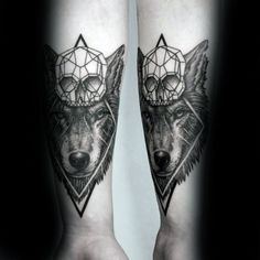 Skull With Wolf Guys Geometric Forearm Tattoos