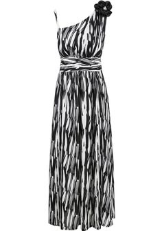 Black White Striped One Shoulder Applique Dress - Sheinside.com Evening  Attire aa0fb4ded