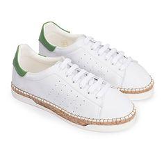 Canal St Martin chaussures pour femmes. Basket espadrille en cuir blanc et vert