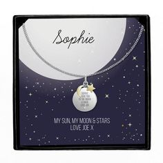 Personalised Sentiment Moon & Stars Sterling Silver Necklace and Box Personalized Valentine's Day Gifts, Personalized Necklace, Back Necklace, Star Necklace, My Moon And Stars, Moon Charm, Little Gifts, Beautiful Necklaces, Sterling Silver Necklaces