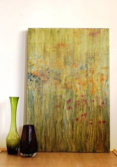Original Art Abstract Landscape Painting Artwork Contemporary Home Decor Green Lime Blue Aqua Orange Pink Amethyst Gold