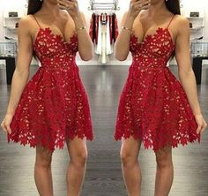 Pretty red lace prom dresses,short prom dress,homecoming dress · FlyinDance · Online Store Powered by Storenvy Unique Homecoming Dresses, Cheap Short Prom Dresses, Prom Dresses For Teens, Unique Dresses, Homecoming Ideas, Graduation Dresses, Women's Dresses, Straps Prom Dresses, Party Dresses