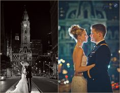Bride and Groom. Philadelphia City Hall at night.