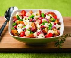 Serve up some inspiration with this Fresh Mozzarella Roasted Potato Salad recipe from Galbani Cheese. Roasted Potato Salads, Roasted Potatoes, Side Dish Recipes, Side Dishes, Lemon Green Beans, Italian Cheese, Fresh Mozzarella, Pasta Salad, Stuffed Peppers