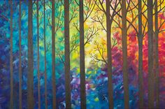 "***TITLE: ""A Warm Autumn  ***SIZE: 36"" x 24"" x 0.8""  ***THEME: abstract trees  ***MEDIUM: Professional grade acrylics or oils on stretched canvas."