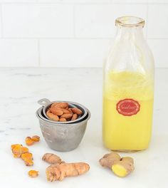 Easy Turmeric Root Milk recipe made with almonds, fresh turmeric root and fresh ginger root is loaded with antioxidants and incredibly healing.