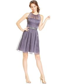 Adrianna Papell Belted Chiffon Halter Dress | Clothing