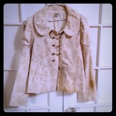 Cute fall jacket size 14 Nice light weight jacket for fall season , minor defect in buttons on front of jacket , bottom right button missing and the loop but still very cute jacket to wear , I personally wore it like a blazer. Anthropologie Jackets & Coats Blazers