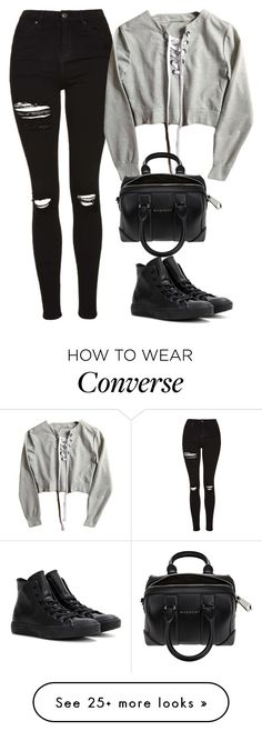 """Untitled #343"" by lionessrose on Polyvore featuring Topshop, Converse and…"