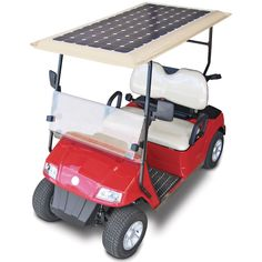 The Solar Powered Golf Cart.  DescriptionLifetime Guarantee  This is the electric golf cart that has an array of 72 photovoltaic cells built into the roof that collect solar energy, providing up to 33% more range between recharges than non-solar electric golf carts. The cart's 160-watt array produces up to three amps per hour for its 48-volt rechargeable battery system, providing a range of up to 49 miles--approximately 10 rounds of golf--before requiring a full recharge $9,000