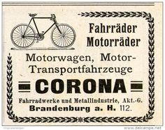 Original-Werbung/Inserat/ Anzeige 1911 - CORONA FAHRRÄDER / MOTORRÄDER - ca. 40 x 55 mm