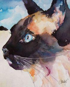 CAT fine art pet portrait print watercolor painting Seal Point Siamese kitty profile. $15.00, via Etsy.