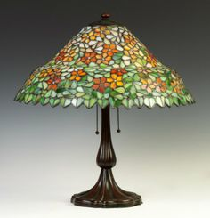Leaded Glass Floral Lamp Patinaed Metal Base
