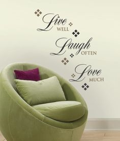 Live Laugh Love are not only great words to live by but a great way of life.  Live Laugh Love Home decor is trendy cute and popular.  I love how sophisticated these pieces are.  These make your home more warm and inviting.  These pieces of live laugh love decor are awesome if you have a country chic themed home. Although this would also look great in a modern home as a fusion piece.        inspirational quotes wall art    RoomMates RMK1396SCS Live, Love, Laugh Peel & Stick Wall Decals, 22…