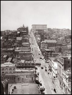 View up California Street ante 1906, R. J. Waters and company, digitally restored for exhibit at US District Courts, San Francisco