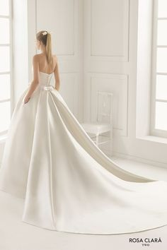 rosa clara two spring 2016 strapless straight across pleated bodice pocketd silky a line ball gown wedding dress royal train (encanto) bv