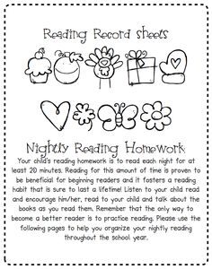 A Place Called Kindergarten: reading record sheets for homework all year