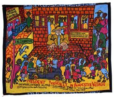 Aminah Robinson, President Roosevelt in Poindexter Village, Columbus Day, October 12, 1940, 1996 Paint on cloth 44 in x 52 in