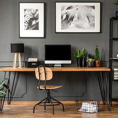 Decoración de interiores y exteriores, decora tu casa - HOLA Home Office Design, Home Office Decor, Home Decor, Office Ideas, Design Desk, Work From Home Moms, Make Money From Home, Corporate Design, Grey Armchair