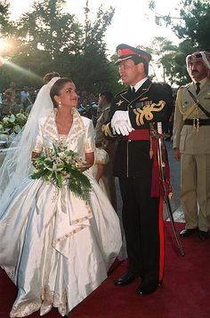 Just five months after she locked eyes on her handsome future husband at a dinner party, Rania Al-Yassin married Jordan's prince – later king – Abdullah bin Al-Hussein on June 10, 1993. The beautiful bride, who became queen in March 1999, wore a gown created by famous Lebanese designer Elie Saab