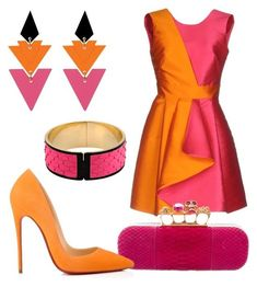 """""""Orange outfit"""" by avmachucag ❤ liked on Polyvore featuring MARCOBOLOGNA, Alexander McQueen, Toolally, Christian Louboutin, Emilio Pucci, orangeoutfit and popsoforange"""