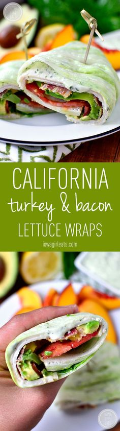 California Turkey and Bacon Lettuce Wraps with Basil-Mayo - Iowa Girl Eats - - California Turkey and Bacon Lettuce Wraps with Basil-Mayo is a fresh and filling low-carb, gluten-free lunch recipe that comes together in minutes! Lunch Recipes, Paleo Recipes, Low Carb Recipes, Cooking Recipes, Atkins Recipes, Parmesan Recipes, Bariatric Recipes, Flour Recipes, Sugar Detox Recipes