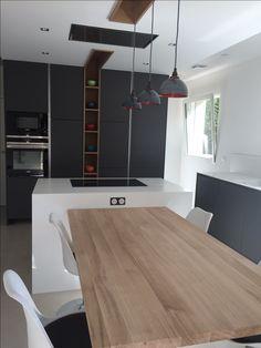Kitchen Island Dining Table, Modern Kitchen Island, Kitchen Island With Seating, Modern Kitchen Design, Home Decor Kitchen, Kitchen Interior, Luxury Kitchens, Home Kitchens, Home Room Design