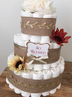 Fall Diaper Cake, Fall Baby Shower, Gender Neutral Diaper Cake, Burlap Diaper Cake, Burlap and Gold Shower Centerpiece by BuzzyDiaperCakes on Etsy https://www.etsy.com/listing/482585503/fall-diaper-cake-fall-baby-shower-gender