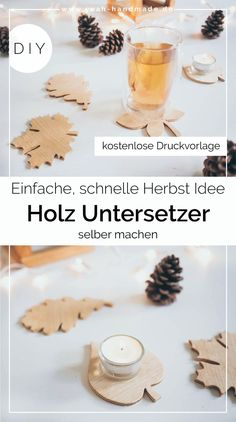 DIY wood coasters make themselves suitable for the fall - ~ DIY Inspirationen ~ - Frauenschmuck Diy Upcycling, Diy Holz, Wood Coasters, Fall Diy, Leaf Shapes, Autumn Inspiration, Wood And Metal, Natural Materials, Diy Gifts