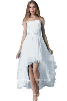 Strapless Ruched Beaded High-low Layered Chiffon Dress - Dorris Wedding Hi Lo Wedding Dress, Wedding Dresses, Chiffon Dress, Dresses Online, High Low, Shopping, Collection, Fashion, Bride Dresses