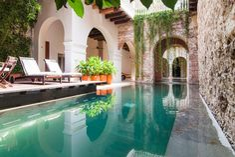 cartagena home / hacienda like / pool / courtyard Outdoor Spaces, Outdoor Living, Outdoor Pool, Brick Archway, Living Pool, Moderne Pools, Vacation Villas, Vacation Rentals, Greece Vacation