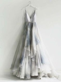 On Sale Colorful Backless Prom Dresses, A-Line Spaghetti Straps Backless Silver Prom Dress With Ruffles Pretty Dresses, Beautiful Dresses, Unique Formal Dresses, Elegant Dresses, Backless Prom Dresses, Dress Prom, Long Casual Dresses, Dream Dress, Ideias Fashion