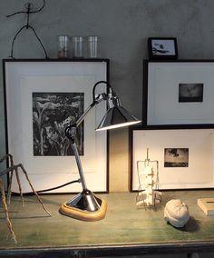 table light by Lampe Gras Table Lamp Wood, Black Table Lamps, Desk Lamp, Industrial Style Lighting, Home Lighting, Lighting Design, Industrial Design, Desk Light, Light Table