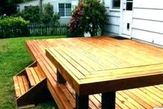 wooden bench built in deck - Google Search