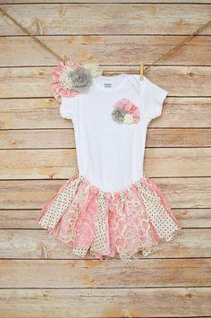 Shabby chic fabric tutu, onesie, and headband, birthday outfit, rag tie tutu, lace tutu, pink tutu, baby tutu, newborn tutu, toddler tutu