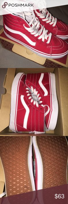 9ac42614cb Shop Women s Vans Red size 10 Sneakers at a discounted price at Poshmark.  Comes with box. Size Womens Sold by prettysells.