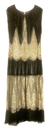Circa 1928 Evening Dress. Plain weave; Lace, machine; Braided, machine Silk crepe chiffon; Metallic thread.