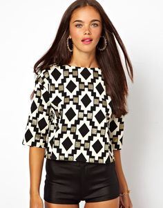 Oversized Metallic Aztec Jacquard Crop Top