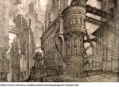 Anton Furst's visionary, award winning design for Gotham City. Batman (1989)