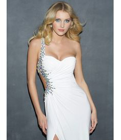 White Ruched Jersey Beaded One Shoulder Open Back Prom Dress - Unique  Vintage - Prom dresses 21085f9608cb
