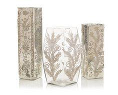 John Richard Set Of 3 Etched Mercury Glass Vases