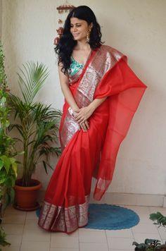 Saree - Handwoven organza sheer silk saree with banarasi border. Length (Saree has own blouse piece. Additionally we are also providing one banarasi m Bridal Sarees South Indian, Indian Bridal Outfits, Silk Saree Banarasi, Organza Saree, Saree Color Combinations, Silk Sarees With Price, Checks Saree, Pattu Saree Blouse Designs, Wedding Silk Saree