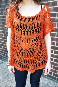 Crochet knit top. 100% Cotton Model wears Small/Medium #WANDERER