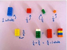 Creative way to teach fractions using Legos :) From https://www.facebook.com/f1rsttoknow