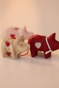Wooden Christmas Pig - I had a little red wooden pig that Auntie Esther gave me. We lost it in the fire.