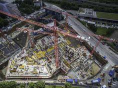 """Vier WÖLFFE bauen im Auftrag der Porr Deutschland GmbH den """"Blue Tower"""" und den """"White Tower"""". Die beiden Gebäude sollen ein repräsentatives Tor im Osten, der bayerischen Landeshauptstadt bilden."""